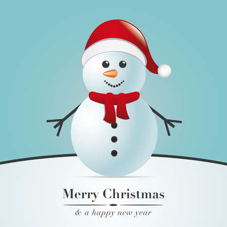 snowman with scarf and santa claus hat photo