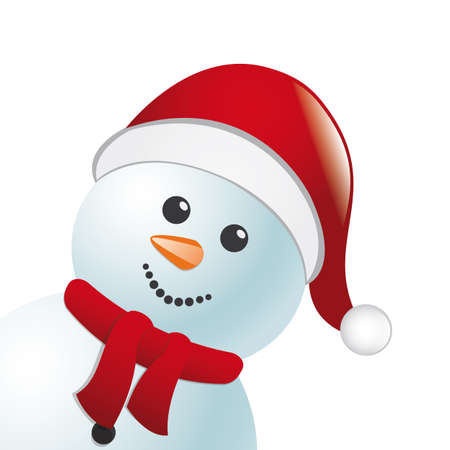 snowman with scarf and santa claus hat Stock Photo - 15560609
