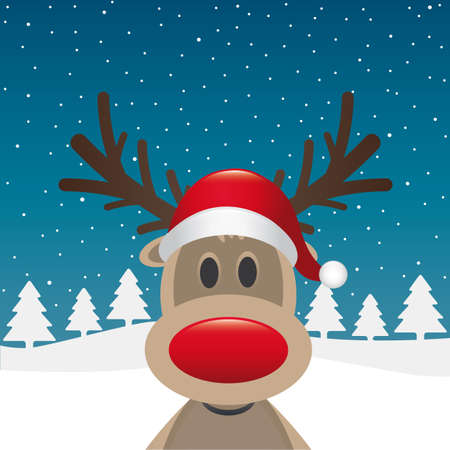 christmas cards: rudolph reindeer red nose santa claus hat