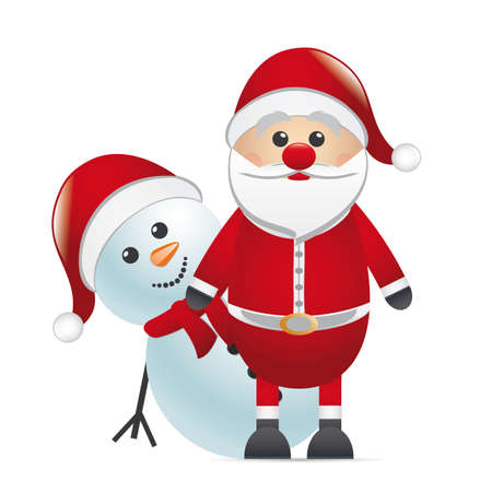 isoladed: snowman behind red nose look santa claus