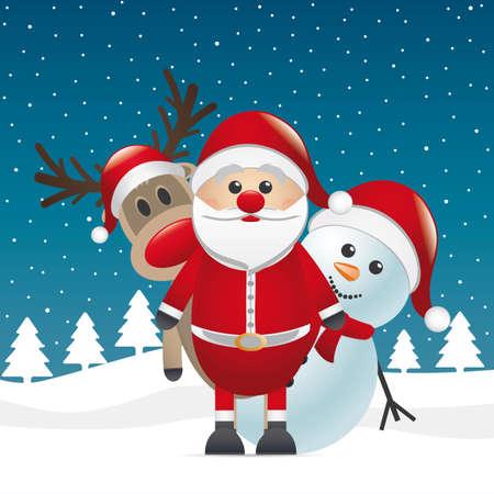 renos de navidad: Rudolph reno nariz roja mirada de Papá Noel
