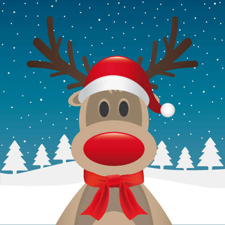 rudolph: rudolph reindeer red nose scarf santa claus Stock Photo