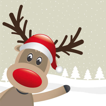 pinetree: rudolph reindeer red nose wave santa claus Stock Photo
