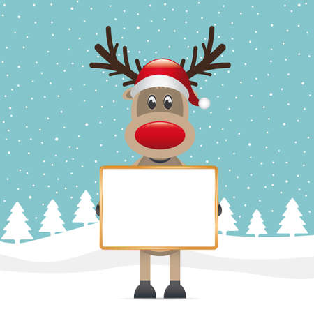 rudolph reindeer red nose hat holding signboad photo