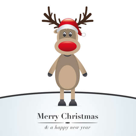 nosed: reindeer red nose and santa claus hat