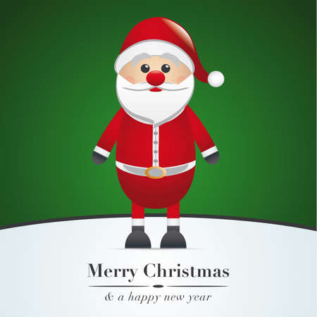 cartoon santa clause: santa claus merry christmas type green background