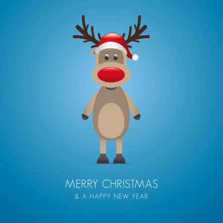 reindeer red nose and santa claus hat photo
