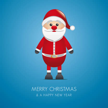 santa claus merry christmas type blue background photo