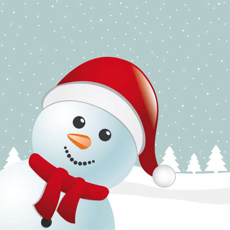 snowman with scarf and santa claus hat Stock Photo - 15605646