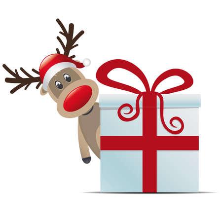 nariz roja: Reno de la Navidad caja de regalo con cinta roja Foto de archivo