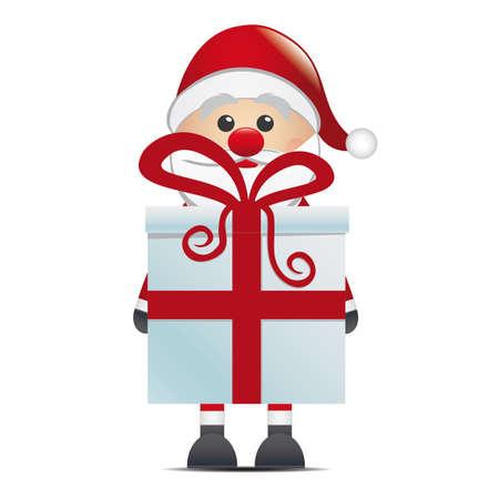 suprise: santa hold gift box with red ribbon