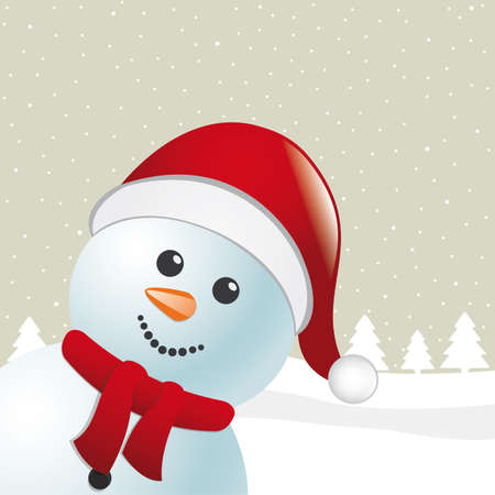 santa cap: snowman with scarf and santa claus hat Stock Photo