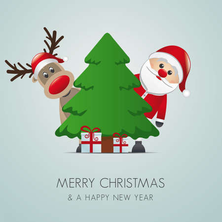 merry christmas text: reno santa claus christmas tree gift box