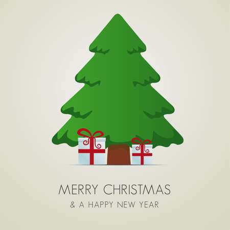 fir tree red: red white gift boxes tree merry christmas