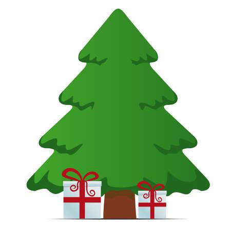 rojo, blanco, cajas de regalo árbol Feliz Navidad Ilustración de vector