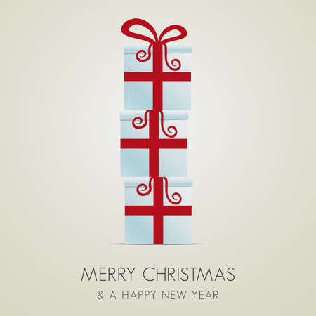 merry christmas red white gift box stack Vector