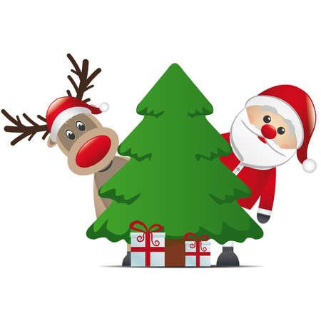 weihnachtsmann: Rentiere santa claus christmas tree Geschenkbox Illustration