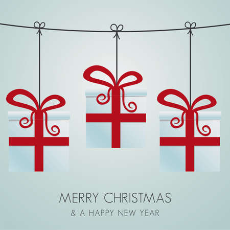 christmas gift boxes hanging on a twine Vector