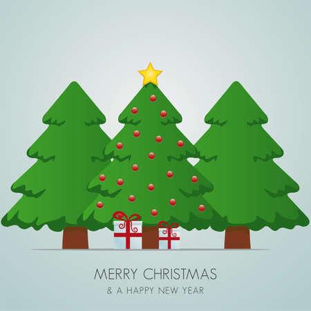 christmas tree: christmas tree gift box and gold star