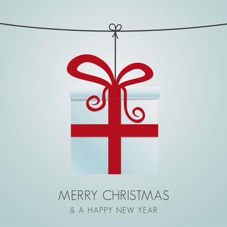 christmas gift box hanging on a twine Vector