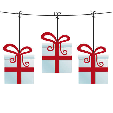 red gift boxes hanging on a twine Vector