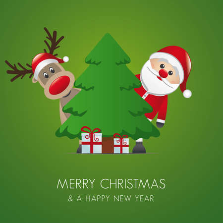 reindeer santa claus christmas tree gift box Vector