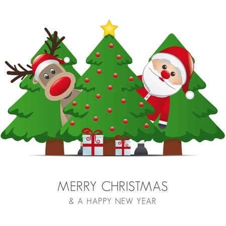 pelota caricatura: reno santa claus christmas tree gift box