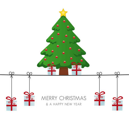 christmas tree gift boxes hanging on twine Vector