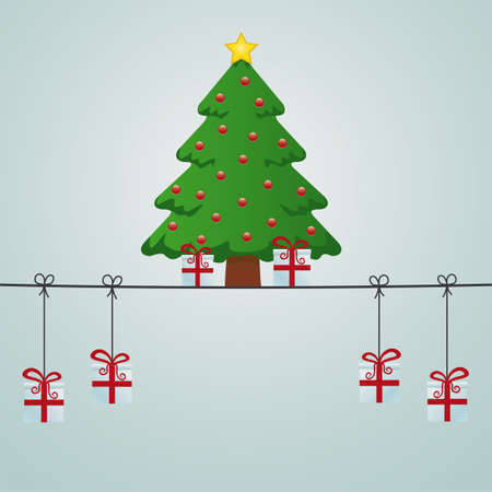 christmas tree gift boxes hanging on twine Stock Vector - 15816098
