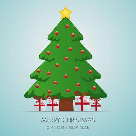 pinetree: �rbol de navidad de caja de regalo y estrella de oro Vectores