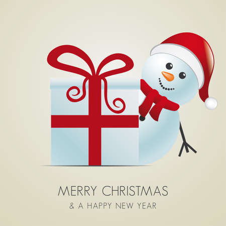 snowman with santa hat behind gift box Stock Vector - 15891260