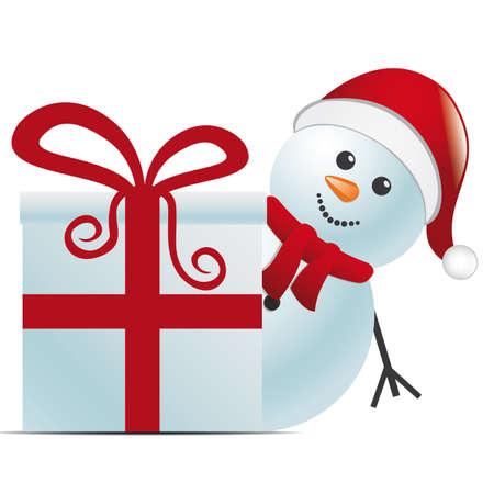boule de neige: bonhomme de neige avec chapeau de Père Noël derrière coffret cadeau Illustration