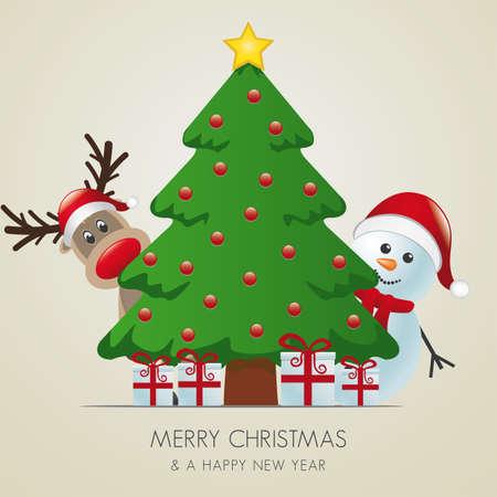 fir tree balls: reindeer and snowman behind christmas tree gifts