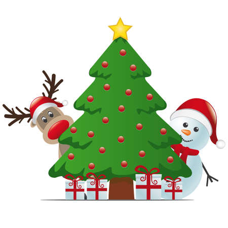 christmas gifts: reindeer and snowman behind christmas tree gifts