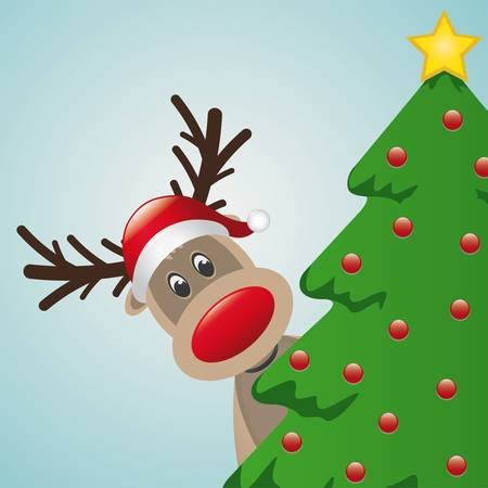 reindeer with santa hat behind christmas tree Vector