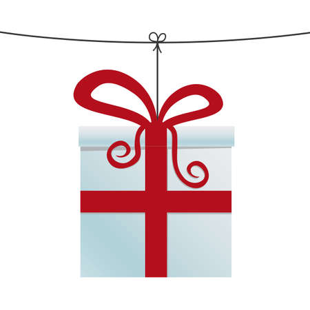 red gift box: white red gift box hanging on twine Illustration