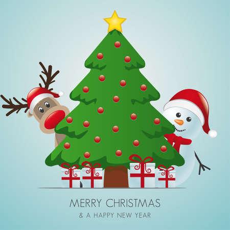 yuletide: reindeer and snowman behind christmas tree gifts