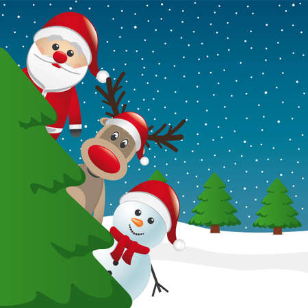 christmas holiday background: santa reindeer and snowman behind christmas tree