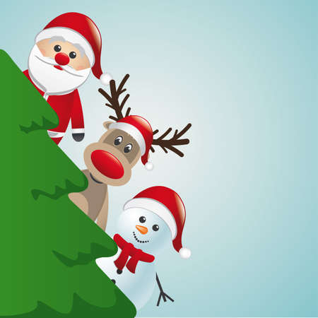 santa reindeer and snowman behind christmas tree Vector