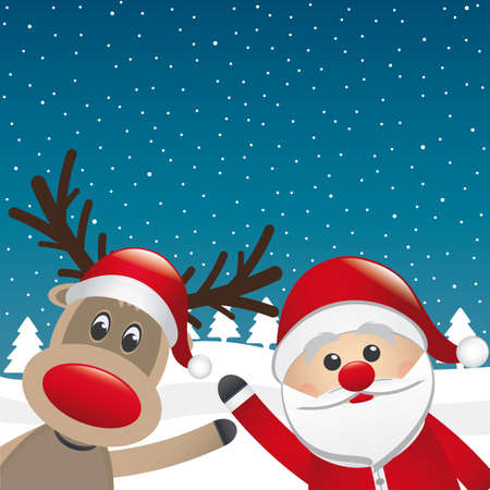 santa and reindeer wave hands winter landscape Vector