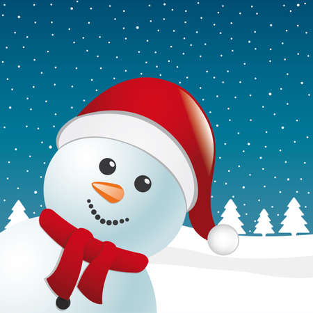 snowman with scarf and santa claus hat Vector