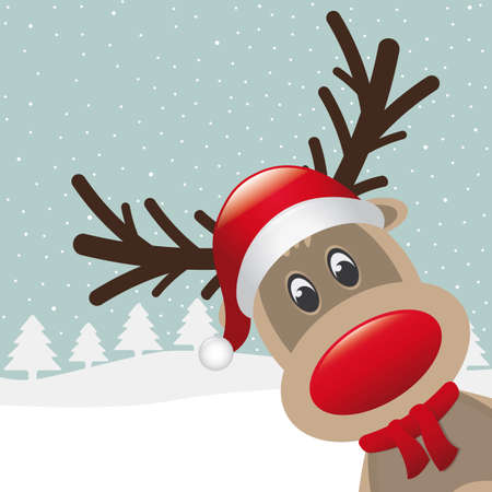 cartoon nose: reindeer with red nose and hat scarf
