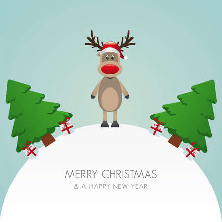 reindeer hat christmas tree white background world Vector
