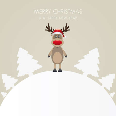 cute tree: reindeer hat christmas tree white background world
