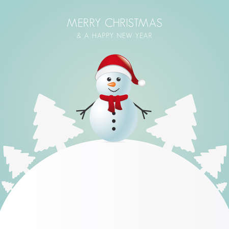 snowman with scarf white tree background world Vector