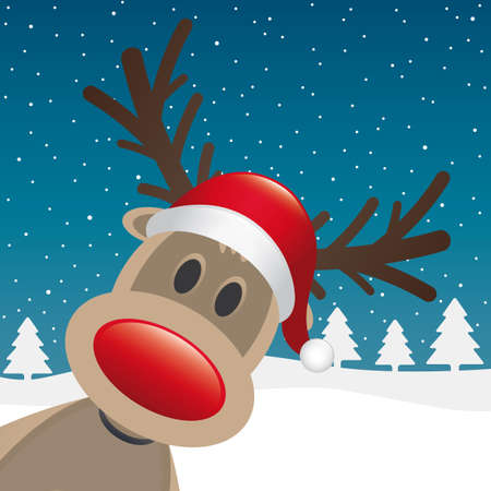 cartoon reindeer: reindeer red nose and hat winter landscape