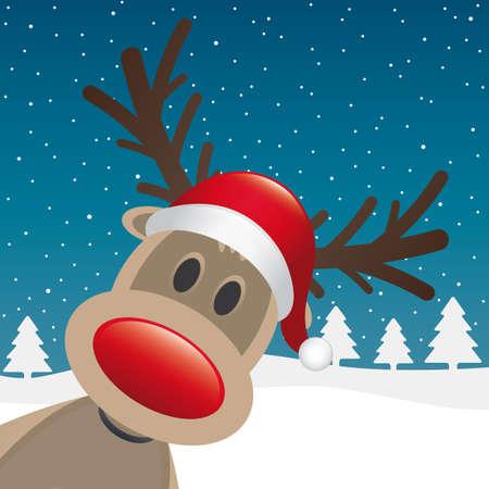 reindeer: renne naso rosso e paesaggio invernale cappello Vettoriali