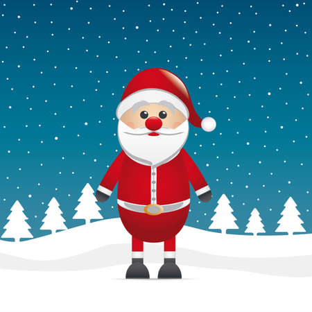 santa claus stand on winter landscape background Vector