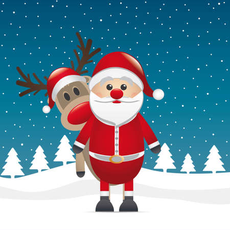reindeer red nose look behind santa claus Vector