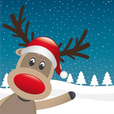 reindeer red nose and hat scarf landscape Vector